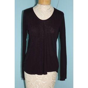 Vince Medium Plum Long Sleeve Jersey Knit Shirt